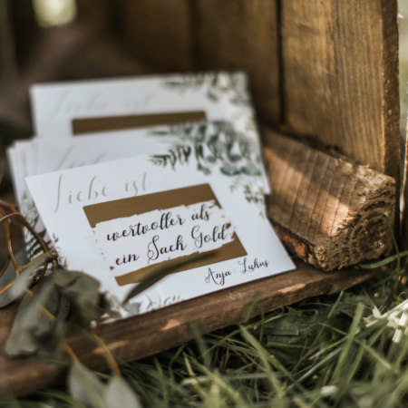 Hochzeitsinspiration Styled Shooting Greenery Gold Gastgeschenke