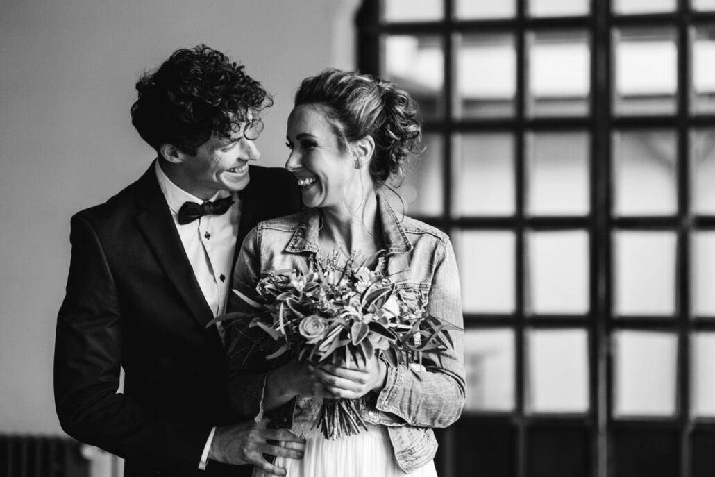 Hochzeitsinspiration Styled Shooting Greenery Gold Urban Wedding Brautpaar