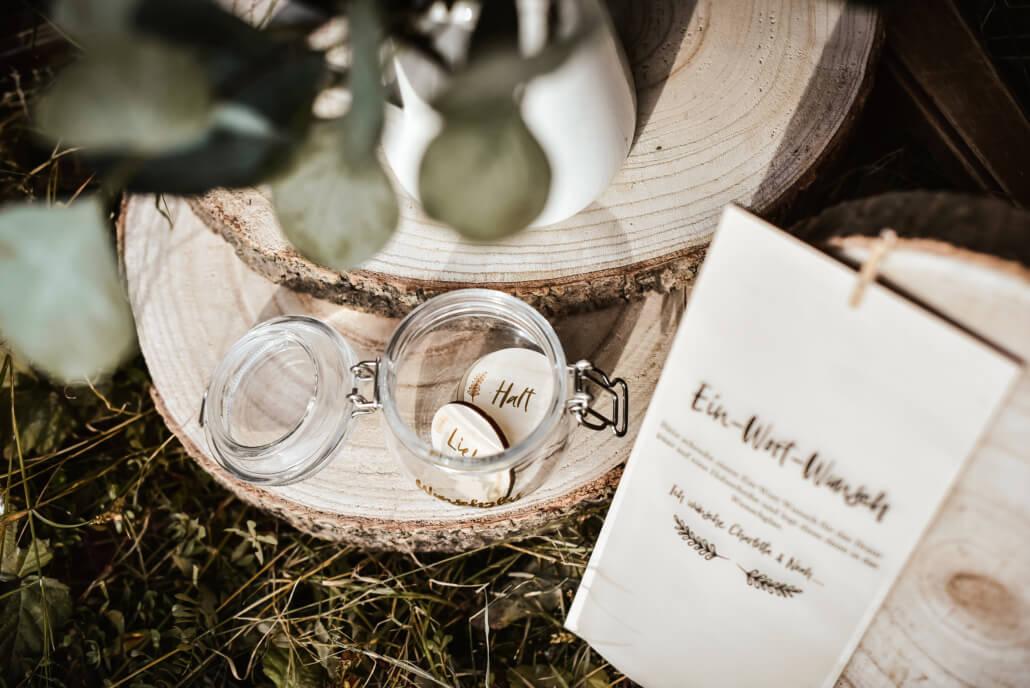 Wunschglas Holz Hochzeitsgeschenk rustikale-Scheunenhochzeit