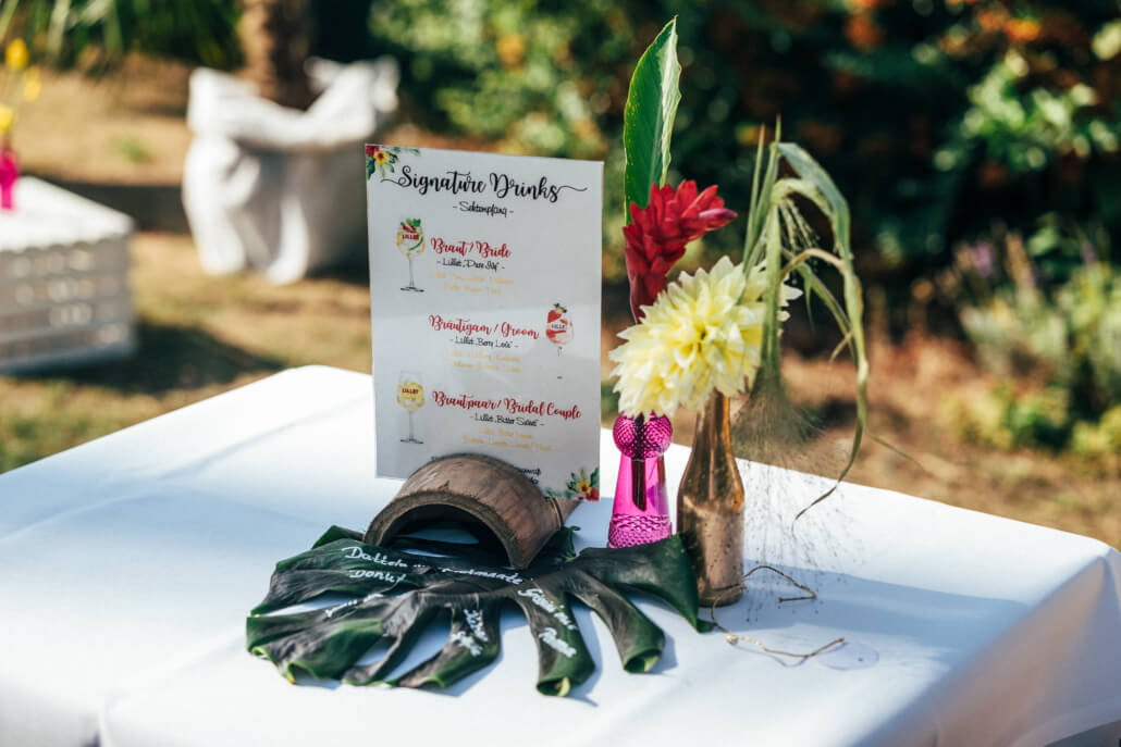 tropical Sommerhochzeit Cocktailkarte