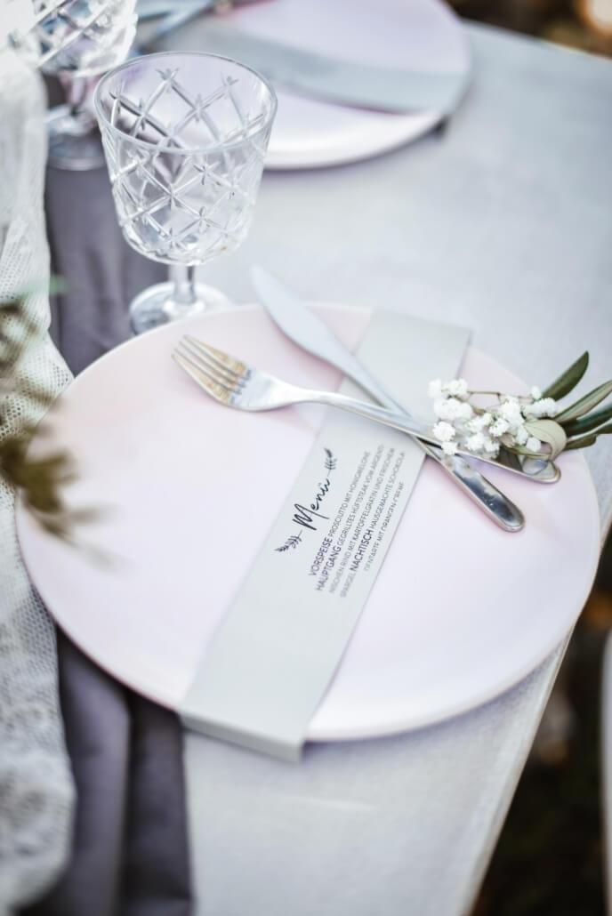 Vintage Chic Hochzeit Menükarte grau rosa
