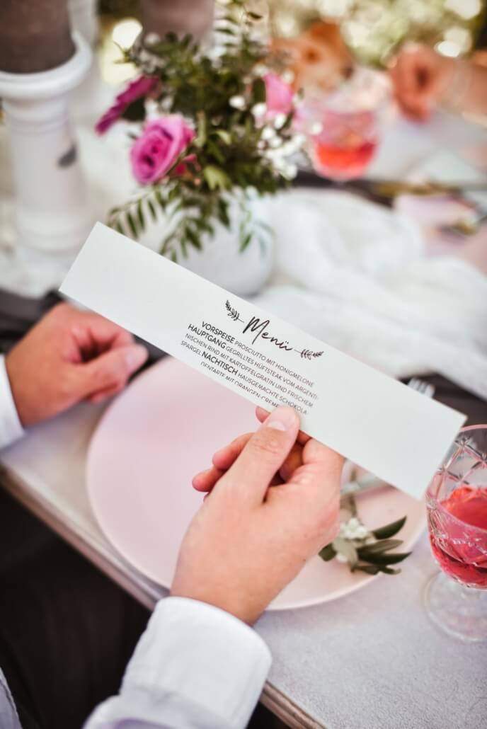 Menükarte Vintage Chic Hochzeit grau rosa