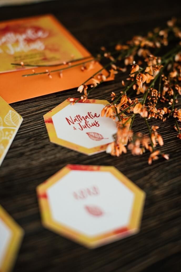 Hochzeitspapeterie Set Herbsthochzeit Rot Orange