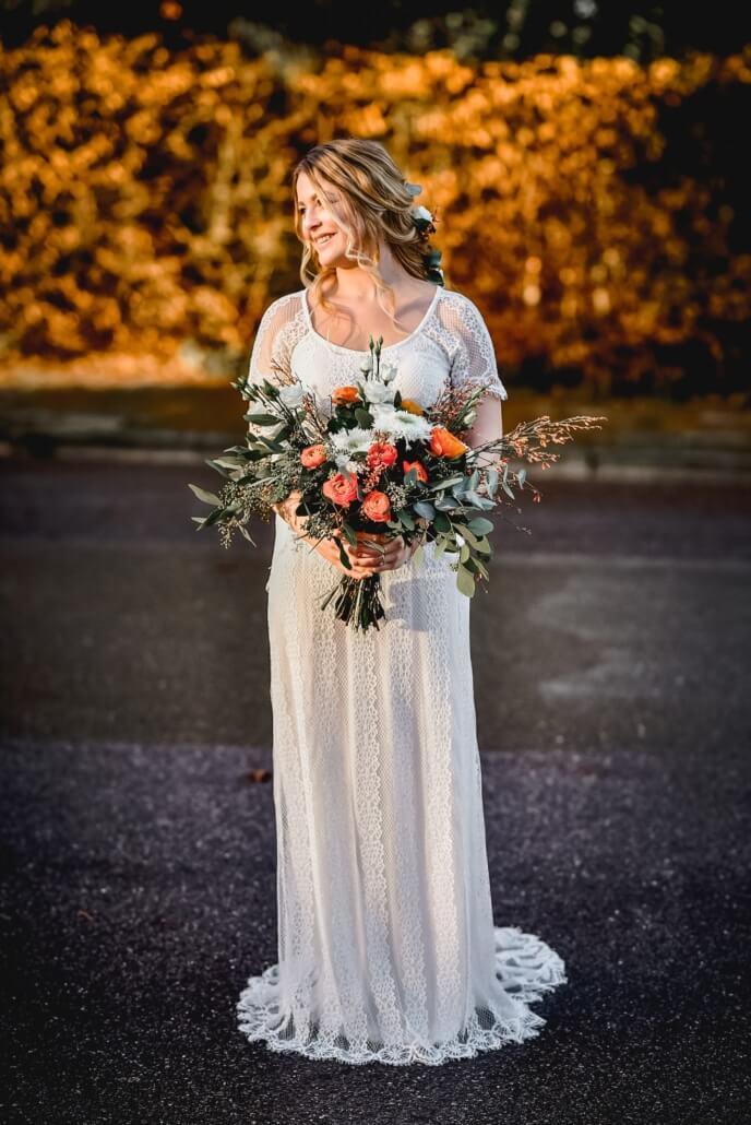 Shooting Braut mit Brautstrauß Herbsthochzeit
