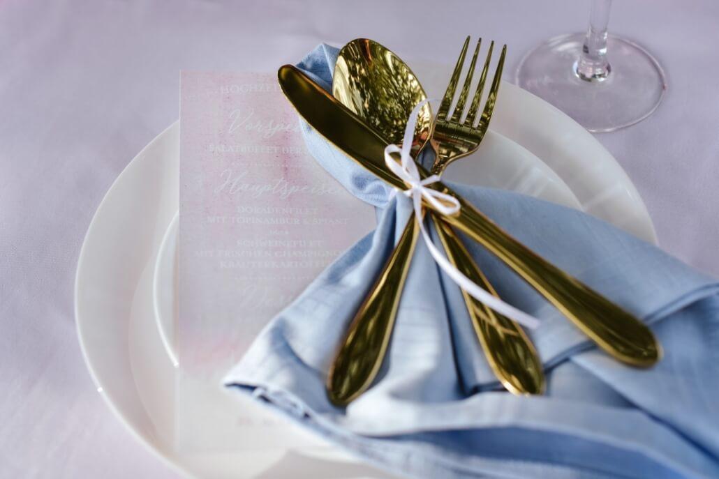 Menükarte Pastell Hochzeit rosa hellblau gold