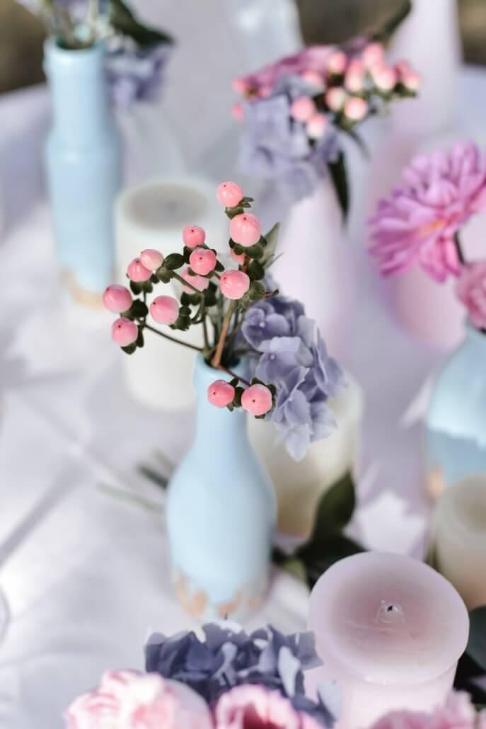 Tischdeko Pastell Hochzeit rosa und hellblau