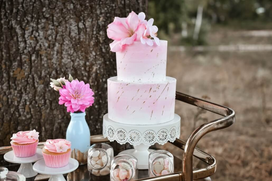 Hochzeitstorte Rosa Sweet Table Pastell Hochzeit