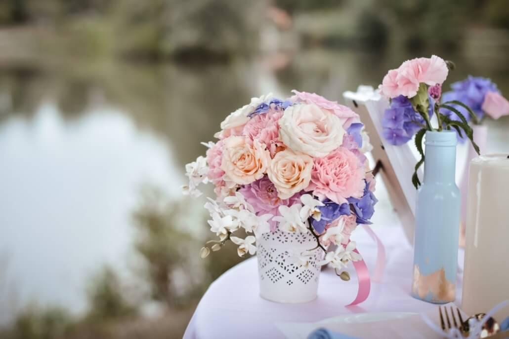 Blumendeko Brautstrauß Pastell Hochzeit rosa
