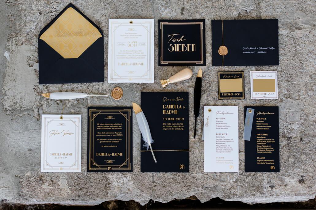 Hochzeitspapeterie Set Flatlay Golden 20s in Schwarz Gold