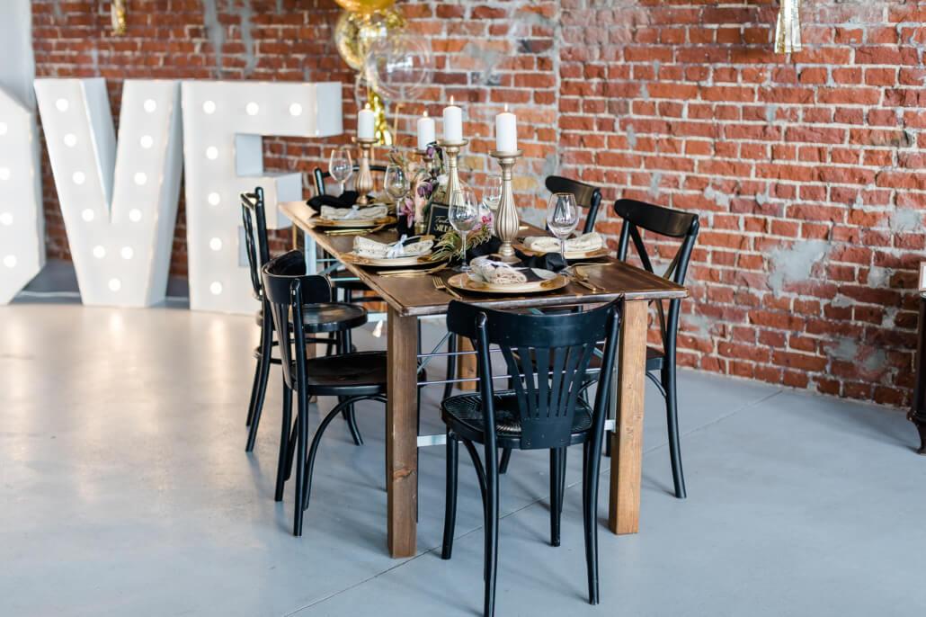 Tischdeko Tiny Wedding Schwarz Gold