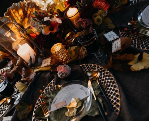 Herbsthochzeit auf der Wasserburg Geretzhoven Tischdeko