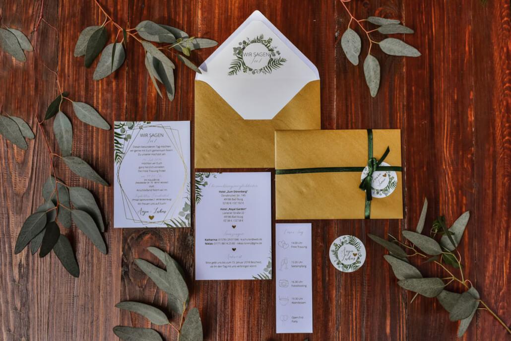 Hochzeitseinladung Golden Greenery