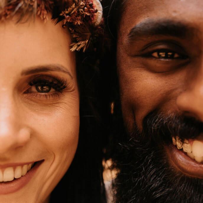 Portrait von Brautpaar Close Up