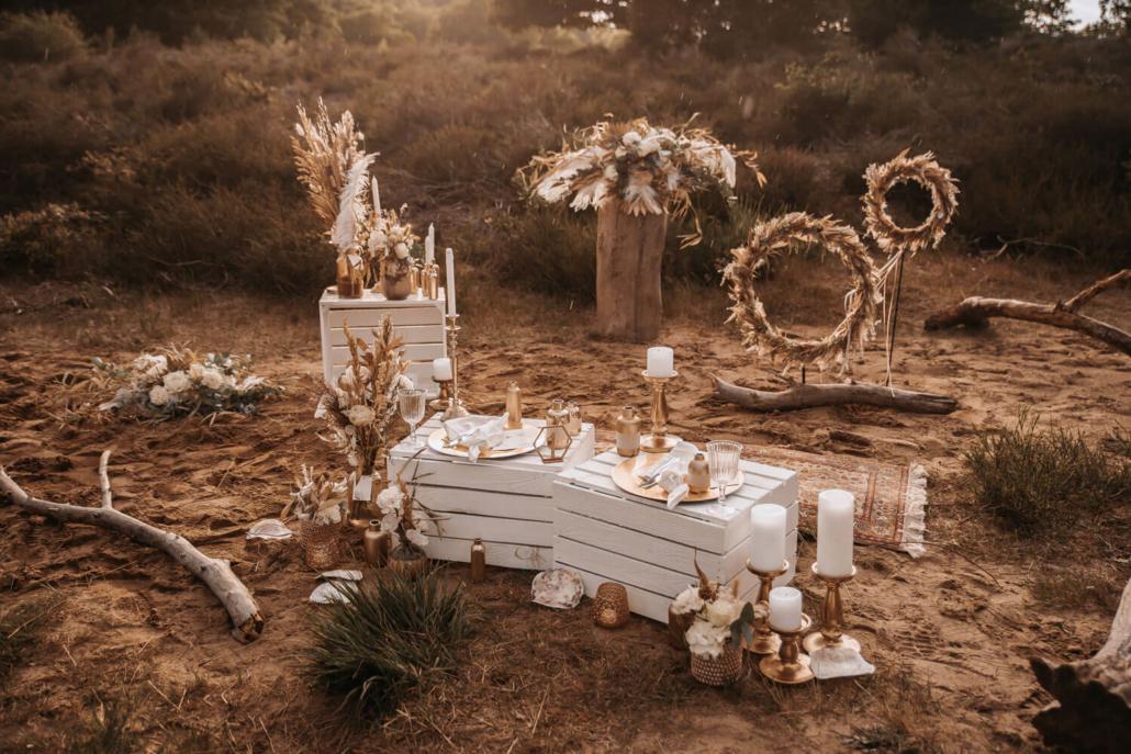 Boho-Hochzeit Picknick im Sand